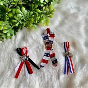 Vintage Patriotic Ribbon Brooches Bundle
